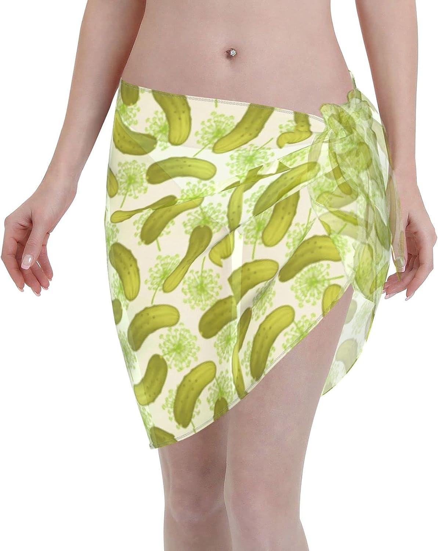 Pickle Fabric Chiffon Women Swimsuit Cover Ups Beach Wrap Sarong Sheer Bikini Short Wrap Skirt for Bikini Swimwear Black