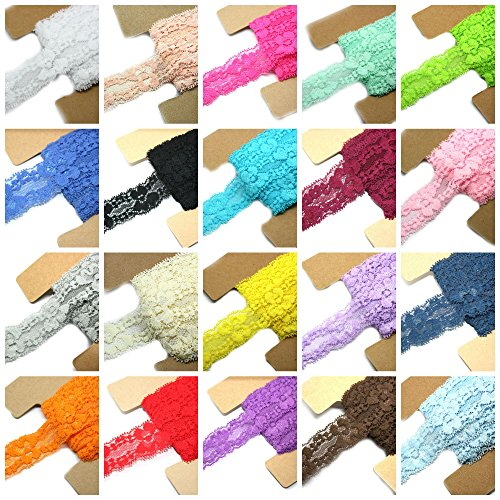 Lace Fabric JLIKA 20 Yards Stretch Elastic - 1' Wide - Soft Trim Lace for Headbands Garters Variety Pack Mix Colors Grab Bag As pictured - 20 Colors 1 Yard Each