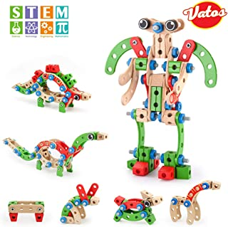 VATOS STEM Toys, Wooden Building Toys for 3 Year Old Boys 96 PCS 7-in-1 Montessori Autism Toys Fun Educational Kids Construction Blocks Toys, Best Christmas Birthday Gifts for Boys & Girls Age 4 5 6