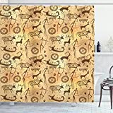 Ambesonne Prehistoric Shower Curtain, Dated Irregular Caveman Paint Forms with Bird and Cow Shape Early Modern Humans, Cloth Fabric Bathroom Decor Set with Hooks, 84' Long Extra, Tan Brown