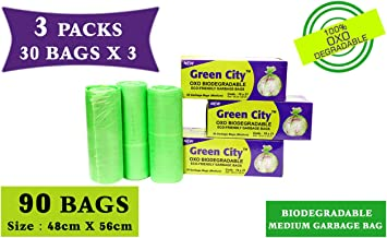 Green City- Garbage Bag | Medium: 48CmX56Cm | 3 Pack of 30bags- 90Bags | 100% OXO-Biodegradable Eco-Friendly Dustbin Bags - Green