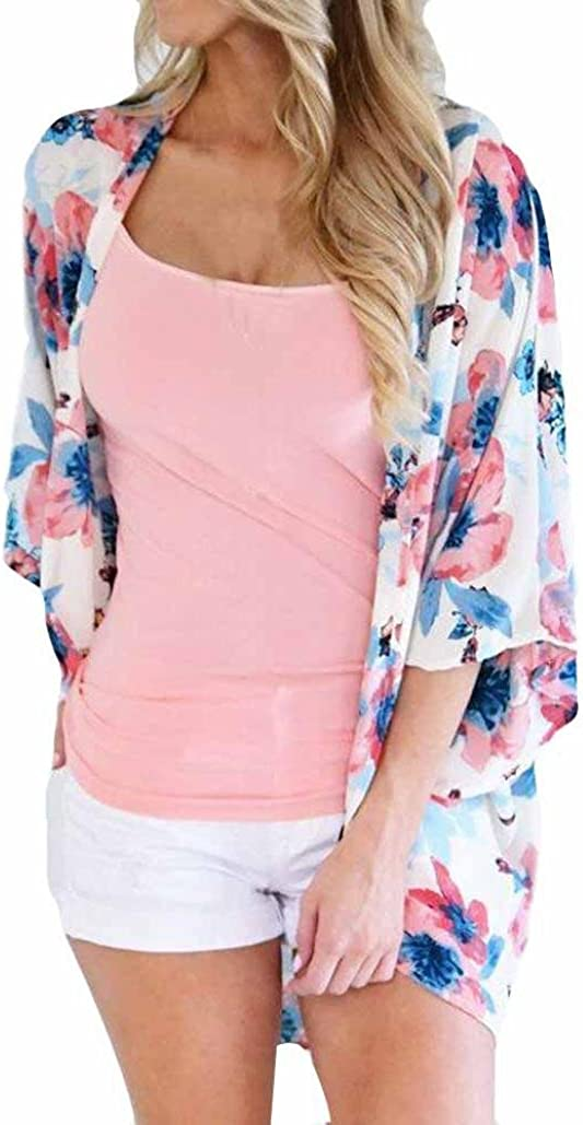 Mikey Store 3/4 Sleeve Lace Floral Kimono Cardigans Shawl Chiffon Casual Cardigan