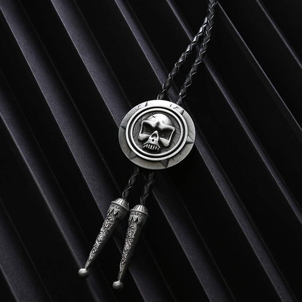 xinqida Fashion Novelty Skull Bolo Tie for Men Simple Round Pendant Bolo Tie Bronze Large