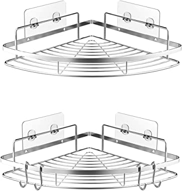 Corner Shower Caddy Shower Shelf Bathroom Organizer, Adhesives or Screws, SUS304 Stainless Steel Rust Proof Water Proof, 2 Pa
