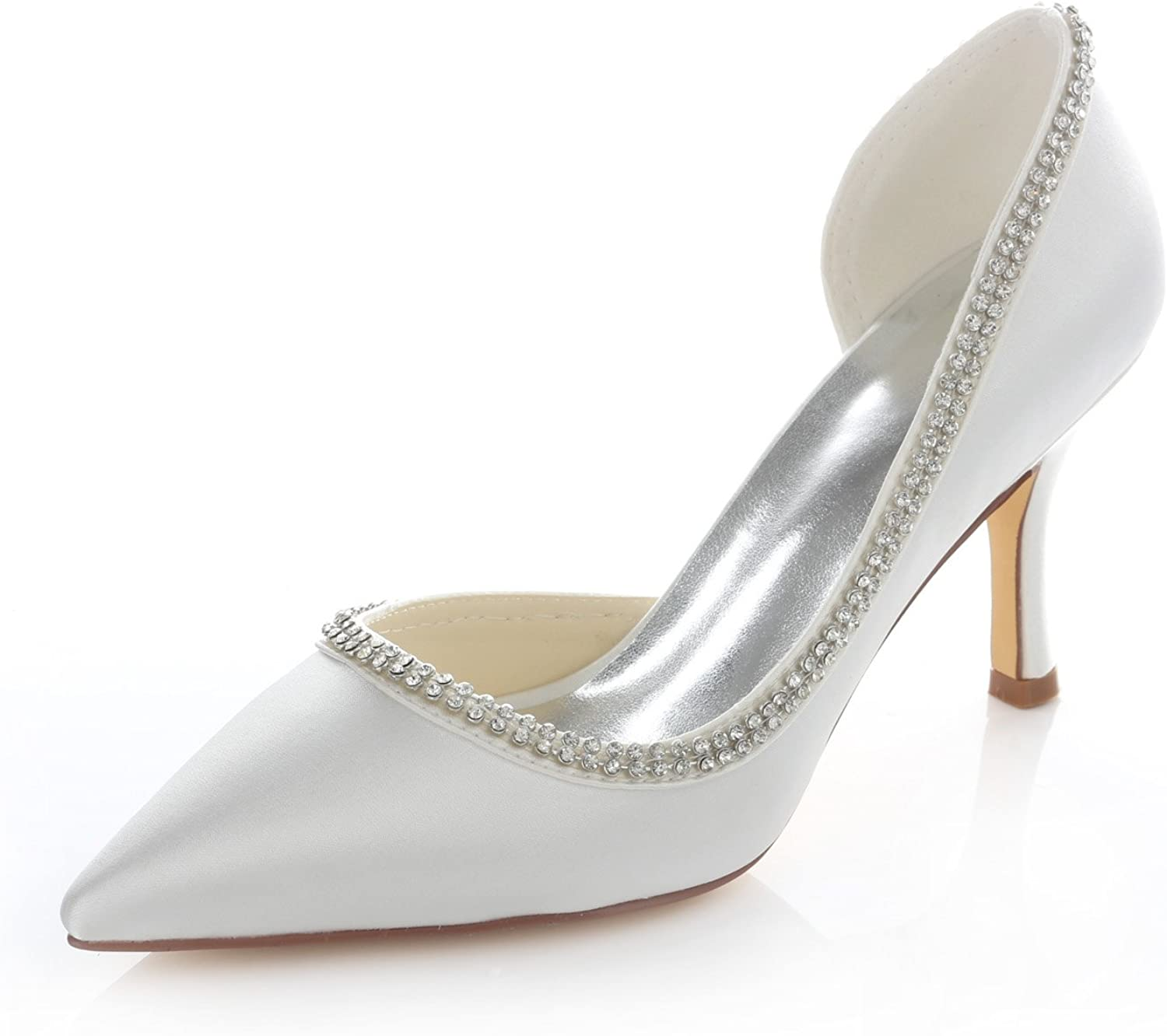 Emily Bridal Ivory Cut Out In a popularity Weddin Pumps Satin Outlet sale feature Pointed Toe