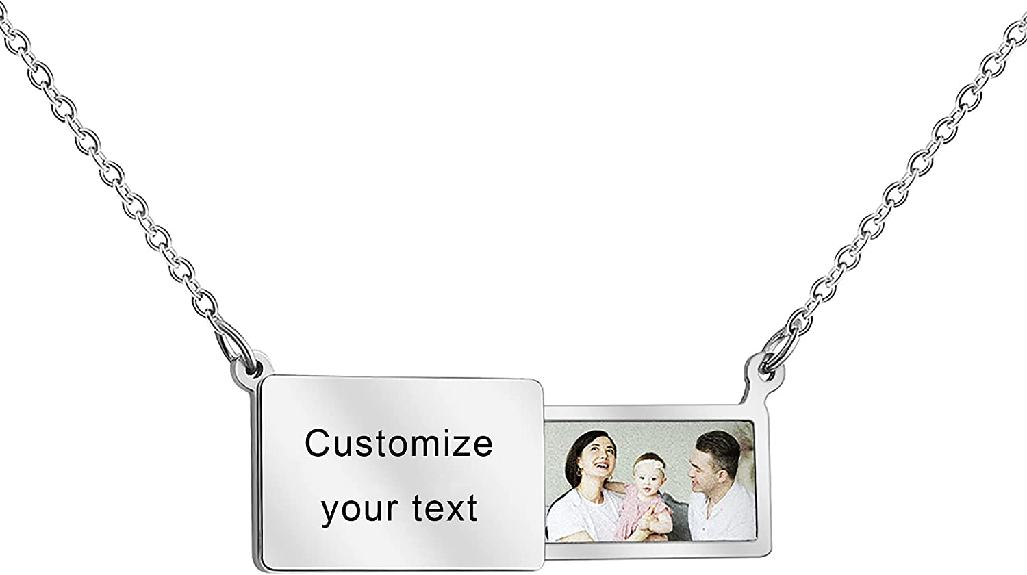 Custom Photo and Text Envelope Necklace,Personalized Locket Charm Pendant
