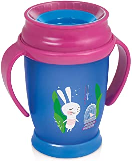 (250 ml, Pink) - Lovi 360 C Follow The Rabbit Kids' Drinking Cup, Sealing Silicone disc, Antibacterial Protection.
