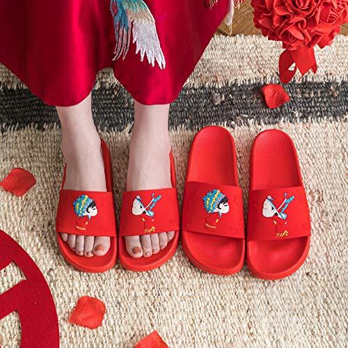 YYFF Palabra de Mujer con Sandalias,Pantofole da sposa Festive,bagno coppia-Cartoon_40-41,Zapatillas de Estar por Casa Ultraligera