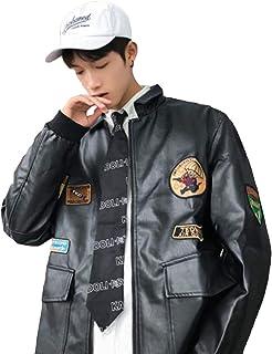 Alppv メンズ ジャンパー 秋 冬 ブルゾン レザー 革ジャン PU ライダース ジャケット コート おしゃれ ジャケット ゆったり コート
