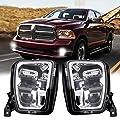 Led Fog Light for Dodge Ram 1500 2013 2014 2015 2016 2017 2018 Pickup Clear Bumper Passing Lamps 1 Pair - Chrome