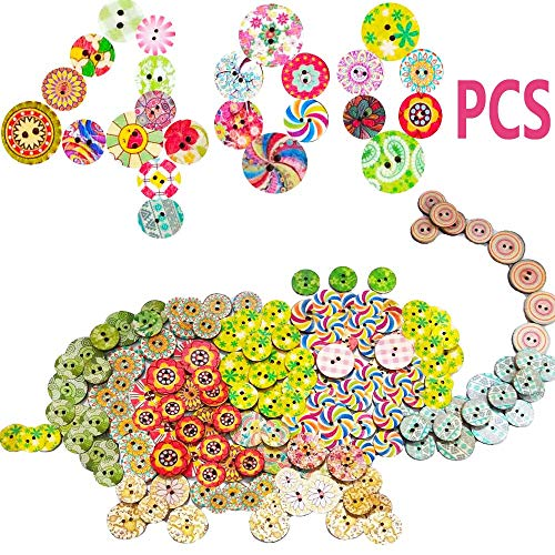 Best Price 400PCS Assorted Mixed Colors Wooden Buttons 2 Holes,Random Flowers Decorative Round Wood ...