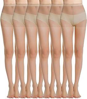 MANZI Women's Everyday Energy 6-Pack Black Nude Silk Sheer Soft Tights 20 Denier