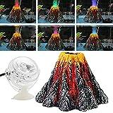 Divistar - Kit di decorazione per acquario, con luci LED colorate, per luci a forma di vulcano, ideale per decorare acquari, grandi dimensioni 15,91 x 7,74 cm