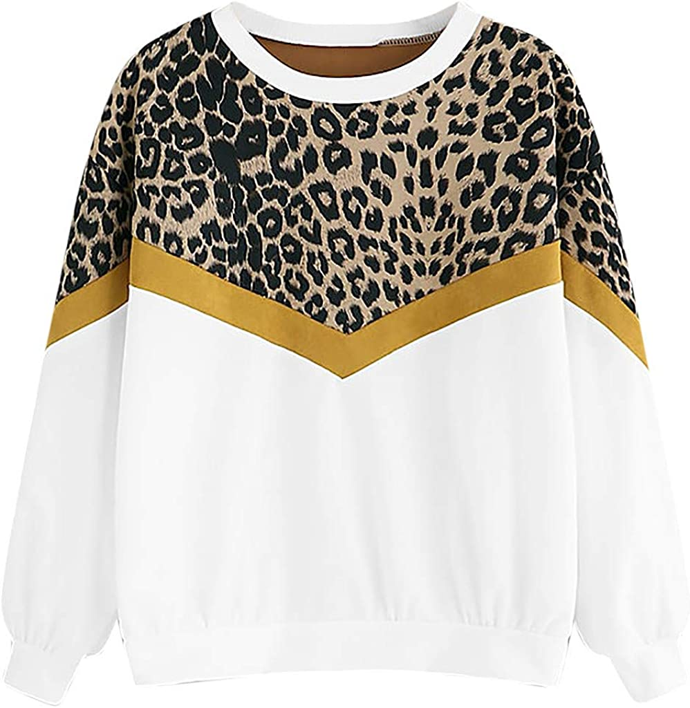 F_Gotal Womens Long Free shipping anywhere in the nation Sleeve Crew Girls Teen Selling Sweatshirts Casu Neck