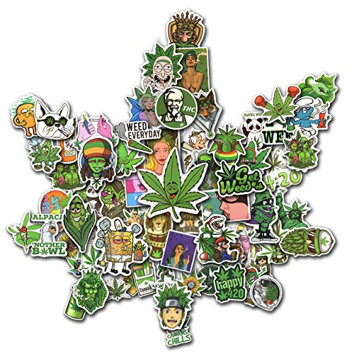 100PCS Weed Stickers for Adult Decals Perfect for Laptop Computer Car Skateboard Water Bottle Travel Case Guitar Luggage Motorbikes