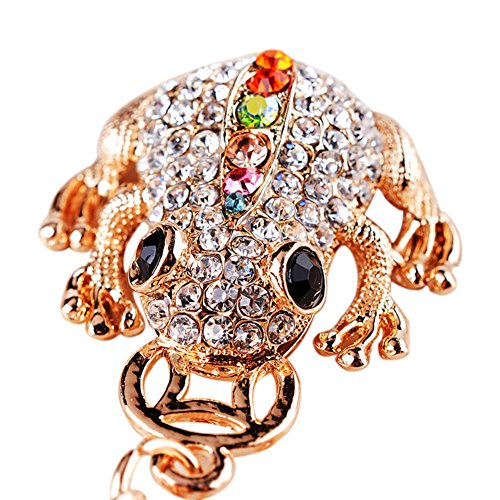 uyhghjhb Colgante Lindo del Bolso de los Ornamentos del Coche del Llavero del Diamante Artificial del Brillo de la Rana