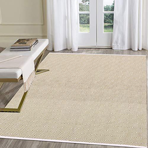Pauwer Teppiche Handgewebte Baumwolle Teppich rutschfest Abwaschbar Bereich Teppich, Ideal für Wohnzimmer Schlafzimmer Kinderzimmer (Khaki, 120 x 180 cm)