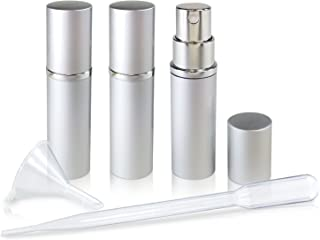 Refillable Perfume & Cologne Fine Mist Atomizers with Metallic Exterior & Glass Interior - 5ml Portable Travel Size - 3ml Squeeze Transfer Pipette Included (3 Pack, Silver)
