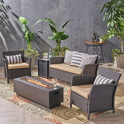 Contemporary Home Living 5pc Brown and Gray Outdoor Patio 4 Seater Chat Set with Fire Pit 51'