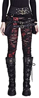 Peony ghost Punk Women Ripped Leggings Gothic Tattered Broken Close-Fitting Mesh Leggings