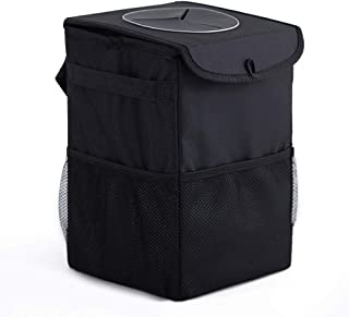 Car Trash Can with Lid, Portable Collapsible Car Trash Can Hanging for Headrest with 3 Storage Pockets, 100% Leak Proof Car Organizer, Waterproof Car Garbage Can, Multipurpose Trash Bin for Car