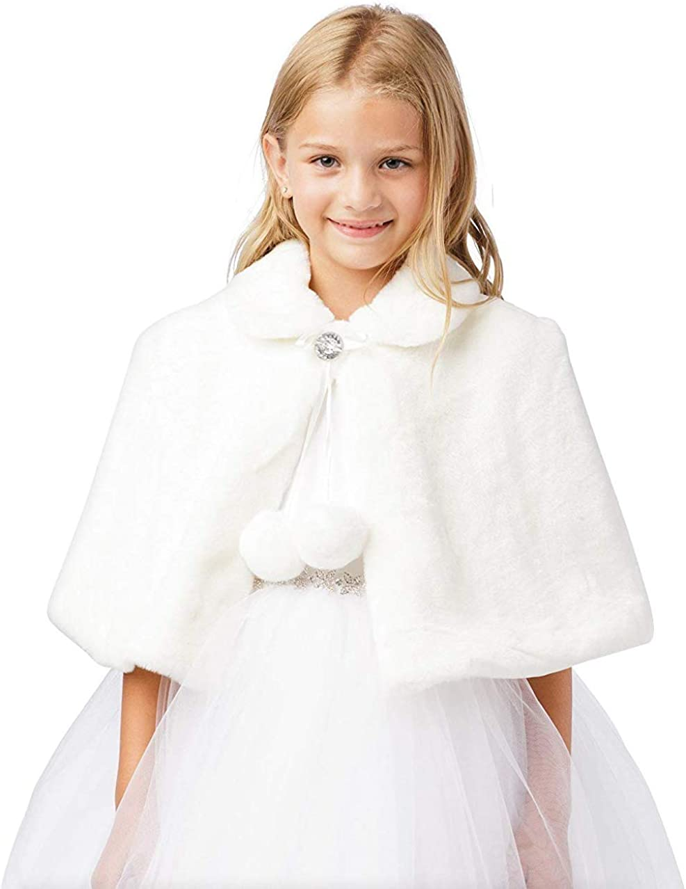 iGirlDress Girls Plush Fur Cape with Collar Flower Girl Bolero Jacket Shrug Coat