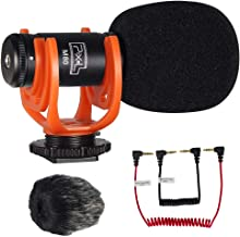 Video Microphone Super-Cardioid Condenser Camera Microphone with Furry Windshield for Cameras Camcorders & Phones