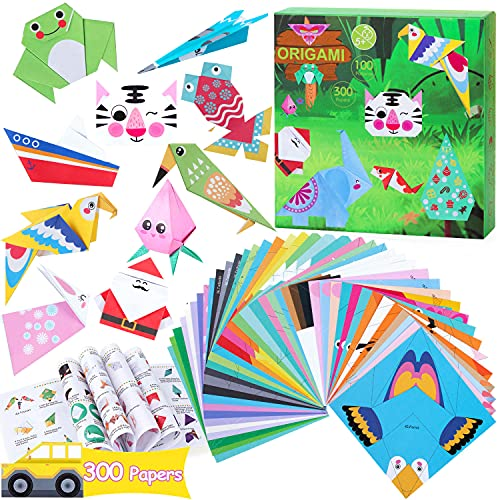 Origami Paper for Kids Crafts - 300 Vivid Origami Papers 100 Origami Objects + Instruction Origami Book + Gift Box, Origami for Kids Adults Beginners, Discover The Joy of Creation by Your Own Hand