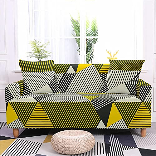Funda De Sofá Elástica Geometría Amarilla 1 2 3 4 Asiento Funda De Sofá Cojín De Sofá Impreso En 3D Funda De Sofá De Protección Antideslizante 1 plazas