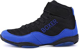 WJFGGXHK Men's Boxing Shoes, High Top Wrestling Shoes Anti Skid Boxing Boots Mesh Breathable Sparring Trainers for Boys