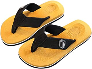Hopscotch Boys and Girls Cotton Flip Flops in Yellow Color