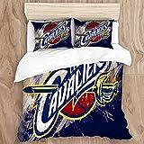 NorgreeBO Duvet Cover Set,Cleveland Ca-va-li-ers (22) Decorative 3 Piece Bedding Set with 2 Pillow Shams, Twin Size