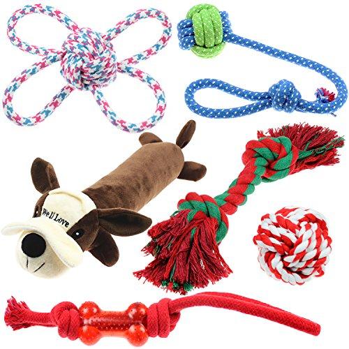 Well Love Juguetes para perro,juguetes para masticar,cuerda de algodón100%natural,juguetes para chirridos,bolas de perro,huesos de perro,juguete de peluche,cuerdas para perro,6unidades,juego de regalo ✅
