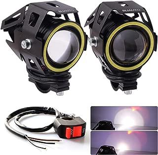 BLIAUTO Motorcycle LED Headlight U7 Cree Driving Fog Running Lights DRL Universal Front Spot Halo Ring Work Light Lamp for ATV UTV Trucks Hi/Lo Beam with Switch (2PCS, White Angle Eye)
