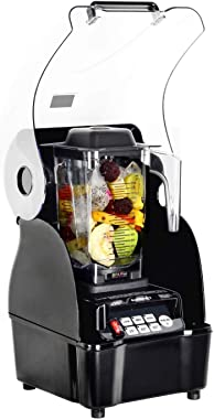 OmniBlend Omni-Q Commercial Blender with Full Sound Enclosure Shield, Quiet Heavy Duty 3-Speed, Self-Cleaning, Includes Multi