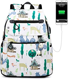 School Backpack Polyester Backpack Wild High School Student Bag Multi-Size USB QDDSP (Color : White, Size : B)