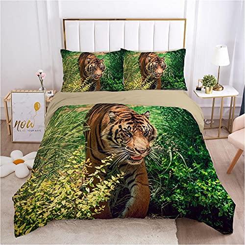 KSjrDdiog Juego de Cama - Juego de Funda Edredón 135x200cm Verde Selva Animal tigrecon 2 Fundas de Almohada 50x75cm de Microfibra y Suave Juego de Cama para niños y niñas