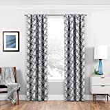 ECLIPSE Room Darkening Curtains for Bedroom - Benchley 37' x 95' Thermal Insulated Single Panel-Rod Pocket Light Blocking Curtains for Living Room, Charcoal