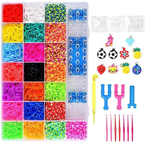 Queta Set mit 4.400 Loom-Bändern, Gummi-Knüpfringe, Strickwerkzeug, selbstgemachte Armbänder, Halsketten, Kinder-Spielzeug, Gummibänder mit Aufbewahrungskasten