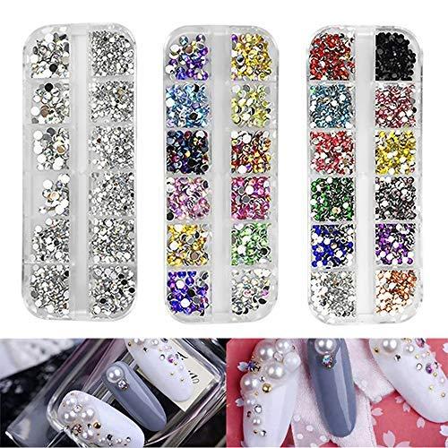 Lot de 3 boîtes de strass pour nail art - Couleurs mélangées - Pour vêtements, chaussures, ongles - Décoration DIY