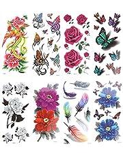ULTNICE temporär tatuering dekal tatuering ros blomma Fenix 3D fjäder 8 blad