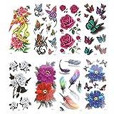 ULTNICE Temporäre Tattoo Aufkleber Tattoo Rose Blume Phoenix 3D Feder 8 Blätter