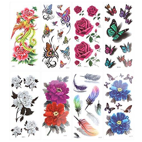 Ultnice temporäre Tattoos, verschiedene Motive, Schmetterlinge und Blumen, 8 Blätter