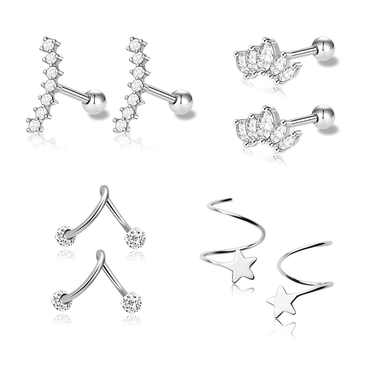 Stainless Steel Ear Cartilage Earrings - Stylish Silver-tragus helix Toned Piercing Jewelry, Trendy Unique Gift for Girls, Women – Suits any Style at Work, Everyday-wear, Events