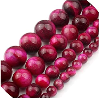 entertainment-moment 4/6/8/10/12Mm Fuchsia Red Tiger Eye Round Beads Bracelet Jewelry Making A++ Pick Size 15