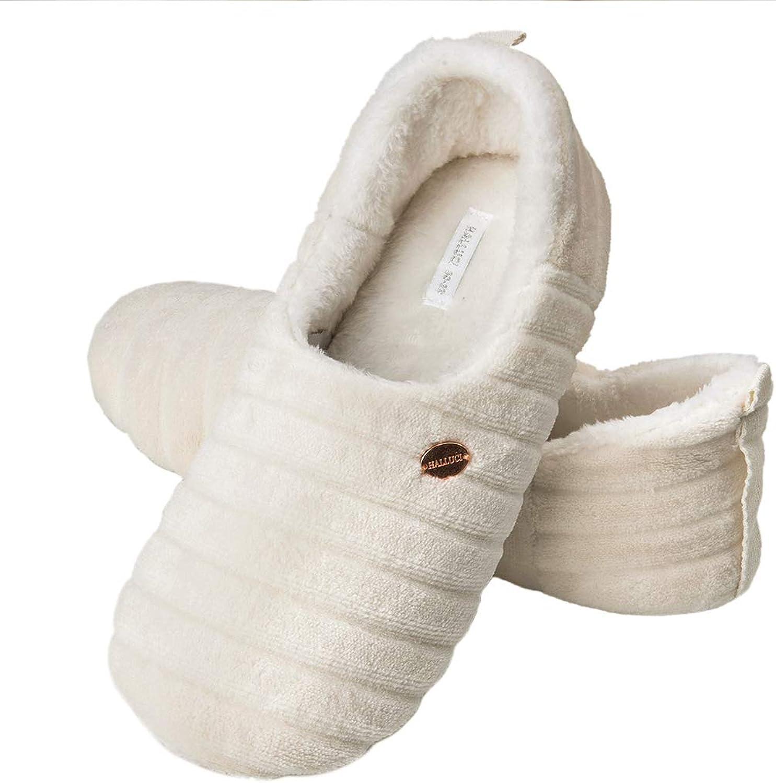 HALLUCI Women's Cute Fleece Stripe Memory Foam House Slippers