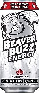 Beaver Buzz (WHITE Can) CANADIAN PUNCH (Zero-Calorie, Zero-Sugar) Energy Drink - 16oz x 12pack