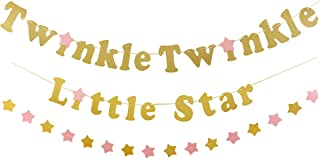 Gold Glittery Twinkle Twinkle Little Star Banner with 1Pcs Sparkling Star Garland,Wedding Birthday Baby Shower Holiday Party Decorations Supplies