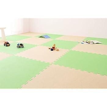ジョイントマット 大判 60cm 32枚 6畳相当 PlayMO プレイモー (グリーン×ベージュ)