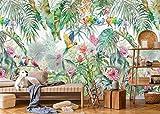SILK ROAD EU Papier Peint Panoramique Jungle Soie, Personnalisable, Poster Geant Mural 3D pour Salon Chambre Décoration Murale, Forêt Tropicale Perroquet Dos De Tortue Bambou Palmier Quitte